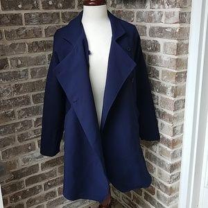 Zara Navy Double Breasted Oversized Blazer Jacket